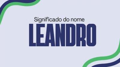 Montagem com foto com uma das mãos no queixo, com o nome Leandro escrito em branco