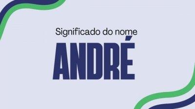 Montagem com foto de homem encostado em porta de loja, usando óculos escuros e fazendo careta enquanto morde o colar que está usando, com o nome André escrito em branco