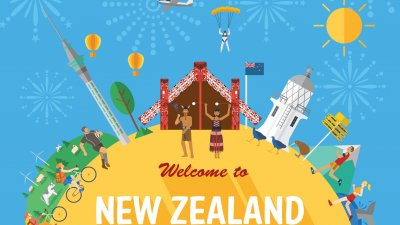 Mensagem escrito bem vindo a Nova Zelândia