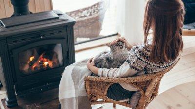 Mulher branca de costas, sentada numa cadeira, com gato preto em seu colo, virada para uma lareira.