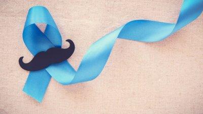 Fita azul com desenho de bigode