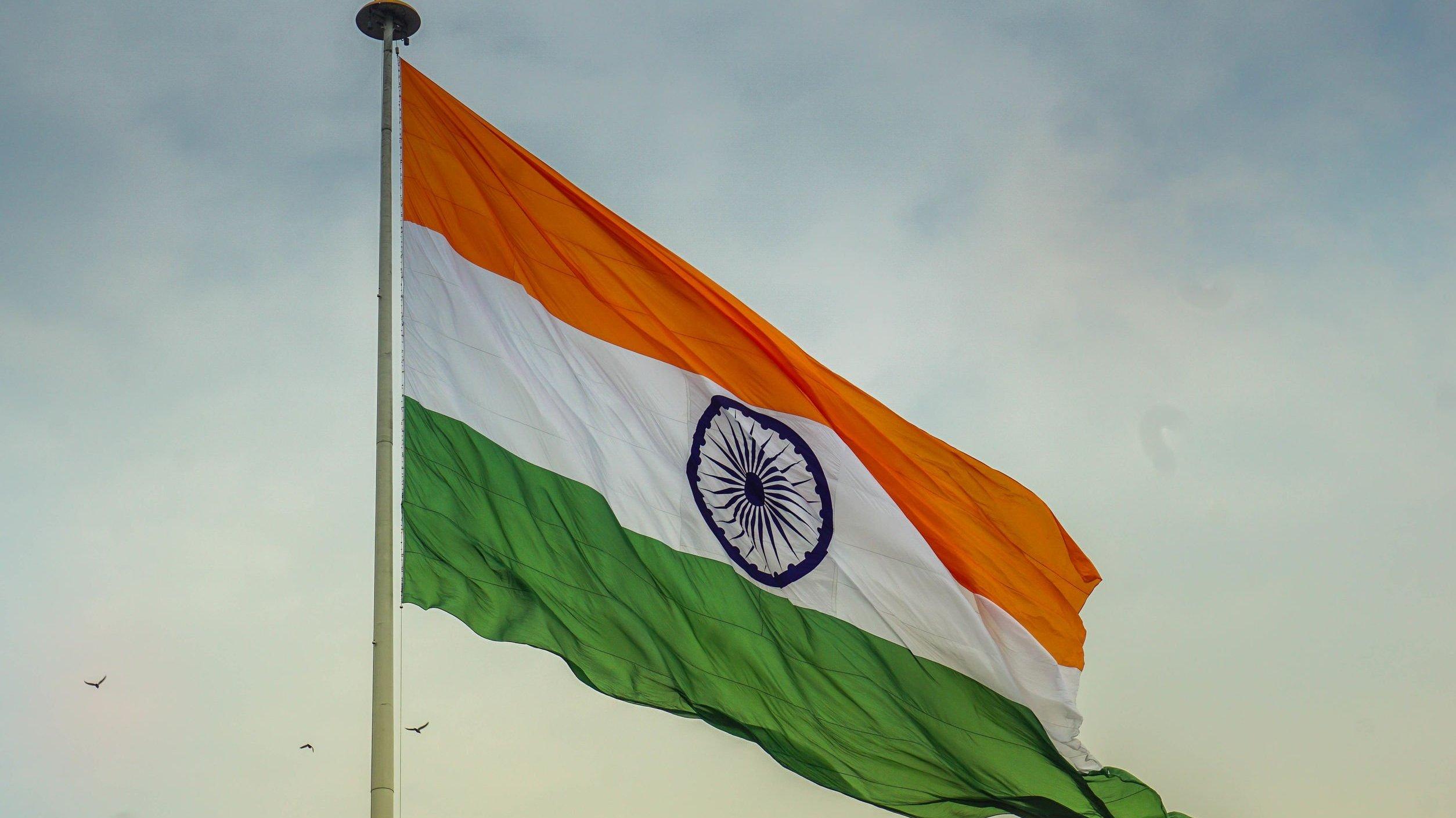 bandeira da índia asteada