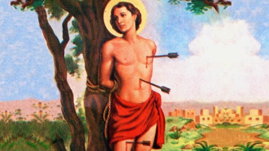 São Sebastião com flecha no peito e na barriga